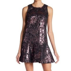 NWT Metallic Rose Gold Floral Cocktail Flare Dress